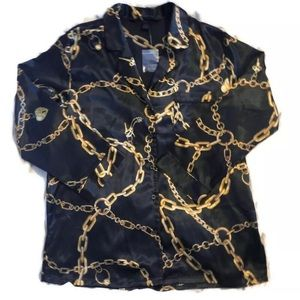 Victorias Secret Satin Pajama Top Black Gold Chain